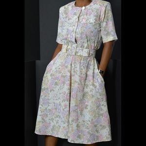 Vintage Floral Midi Dress Stuart Alan Size Small